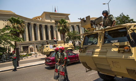The Armed Forces protect the Supreme Constitutional Court of Egypt